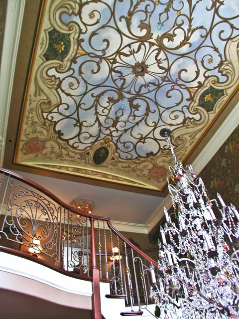 Pine street studios faux ironwork ceiling 2 stairwell view for French ceiling design