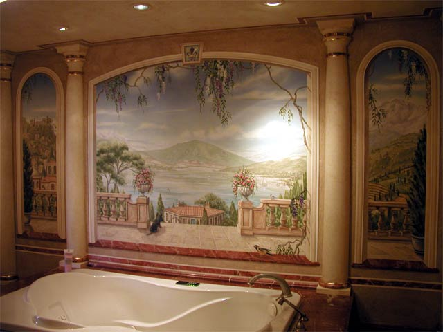 Pine Street Studios More Wall Murals Tuscan Bath Tub Room