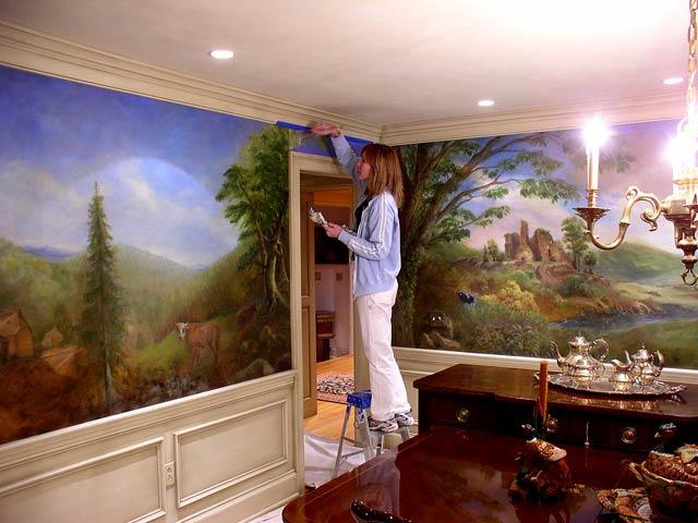 Pine Street Studios > Dining Room Mural on Canvas: Work in Progress
